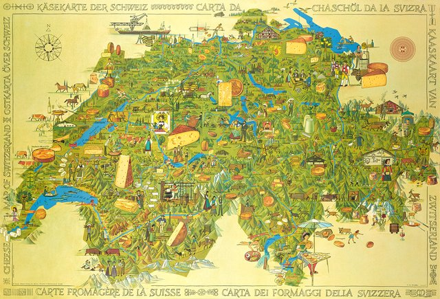Carte Fromagère de la Suisse, Cheese Map of Switzerland