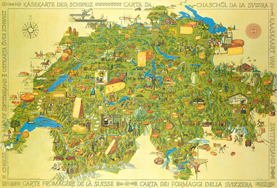 Carte Fromagère de la Suisse, Cheese Map of Switzerland – Vintage poster – O.M MULLER – 1967