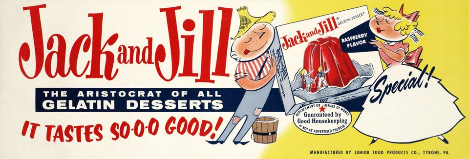 Jack and Jill, the aristocrat of all gelatine desserts. It's tastes so good ! – Vintage poster –  ANONYME – 1960