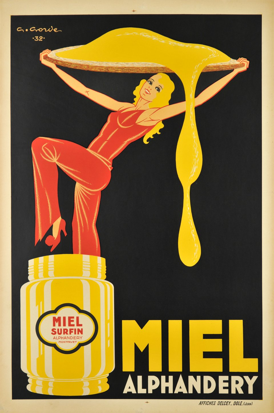 Miel Alphandery – Affiche ancienne – Gaston GORDE – 1932