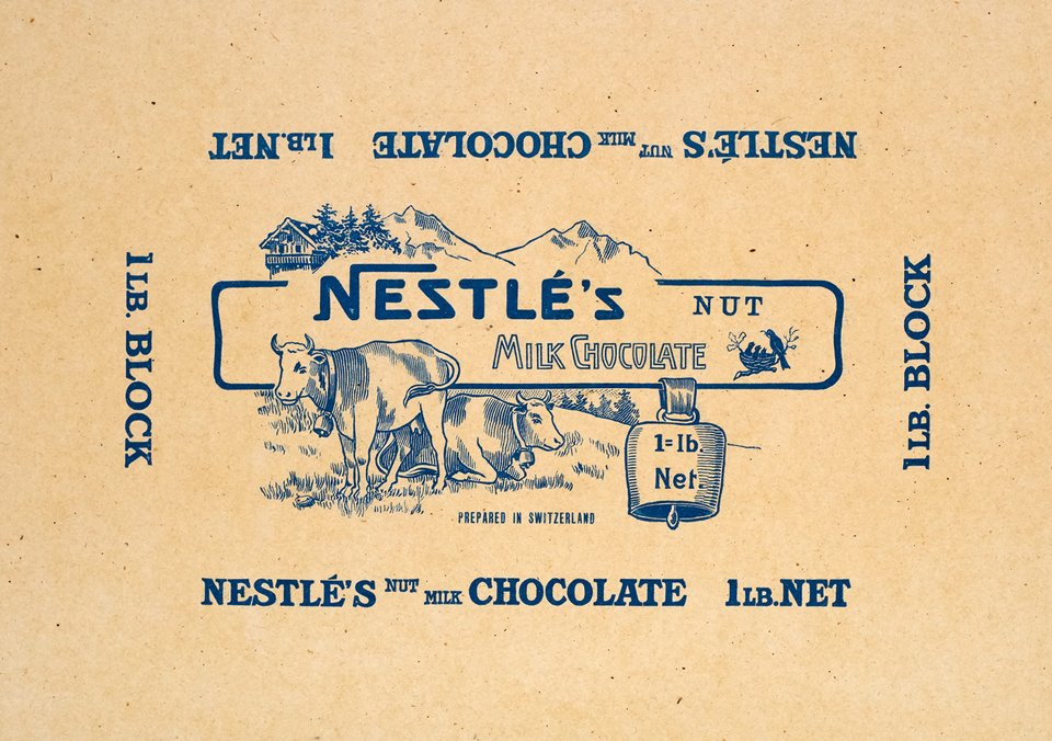 Nestlé's Nut Milk Chocolate, prepared in Switzerland – Vintage poster – ANONYMOUS – 1930