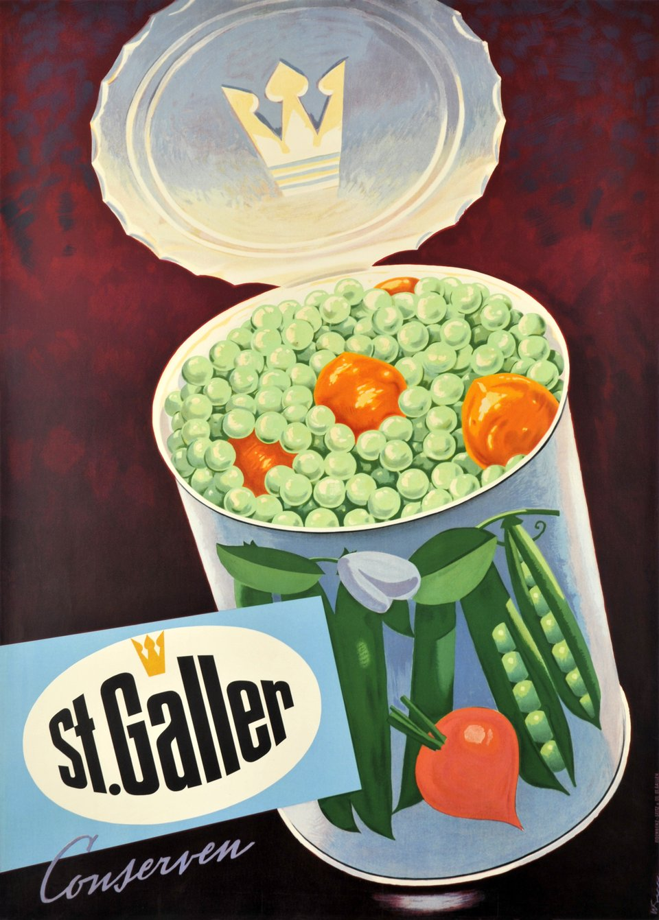 St-Galler conserven – Vintage poster –  WEISS – 1950
