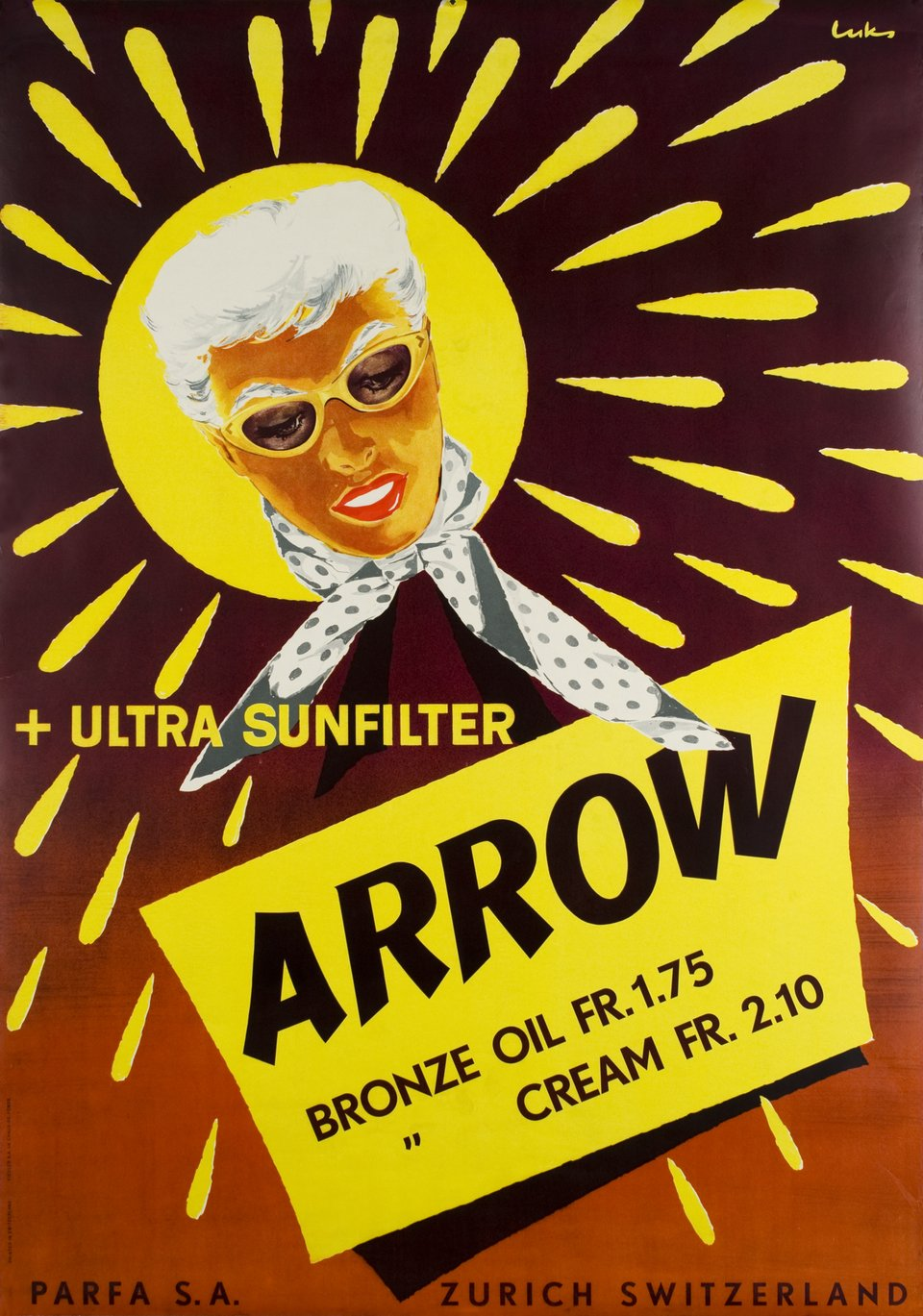 Arrow + Ultra sunfilter – Affiche ancienne –  LUKS – 1950