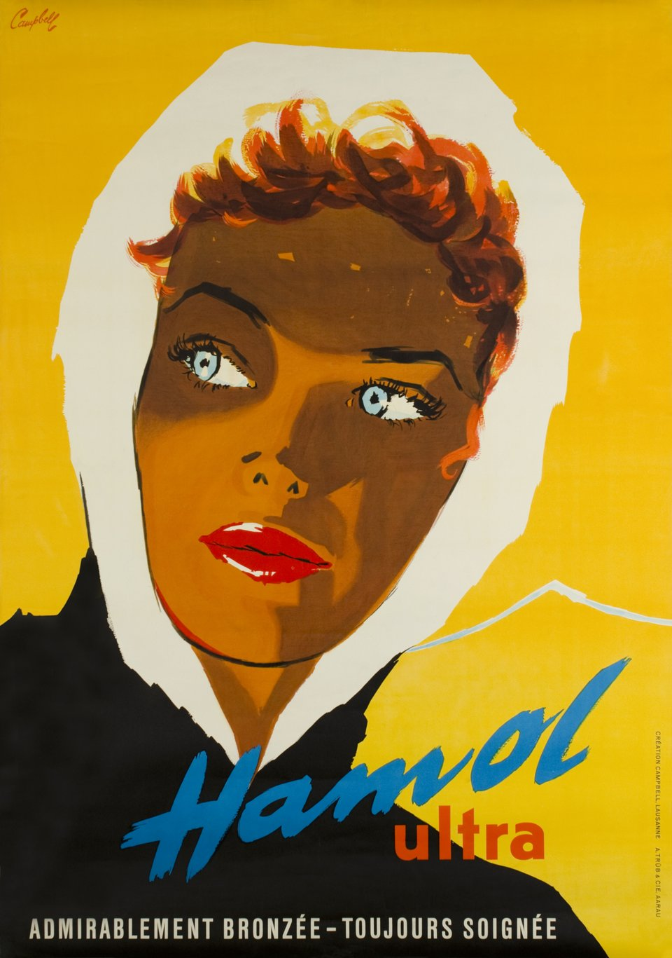 Hamol Ultra admirablement bronzée - toujours soignée – Affiche ancienne – Marcus CAMPBELL – 1955