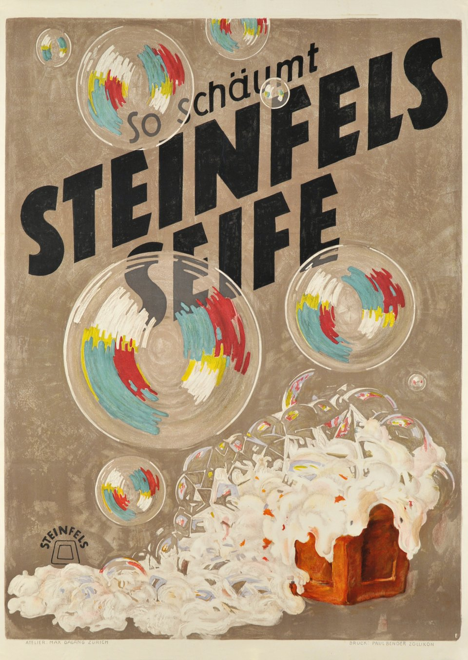 So schäumt Steinfels seife – Affiche ancienne – Max DALANG – 1920