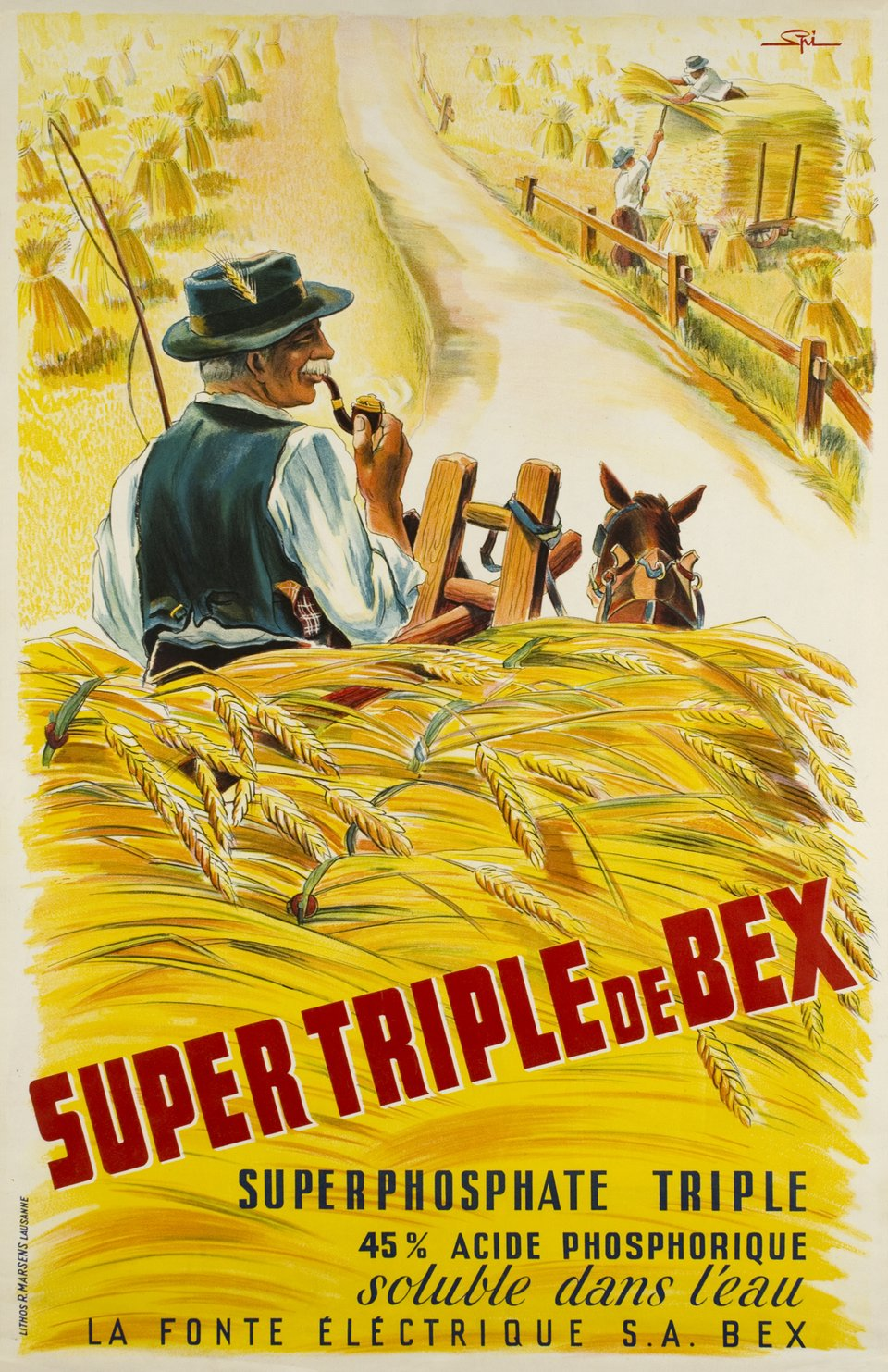 Super Triple de Bex – Affiche ancienne – Walther SPINNER – 1950