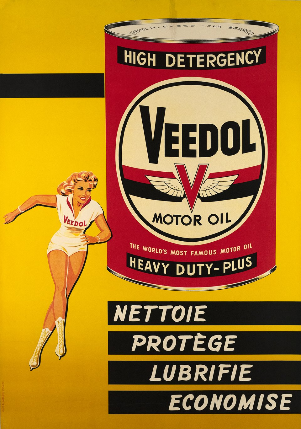 Veedol Motor Oil, Nettoie, Protège, Lubrifie, Economise – Vintage poster – ANONYME – 1950