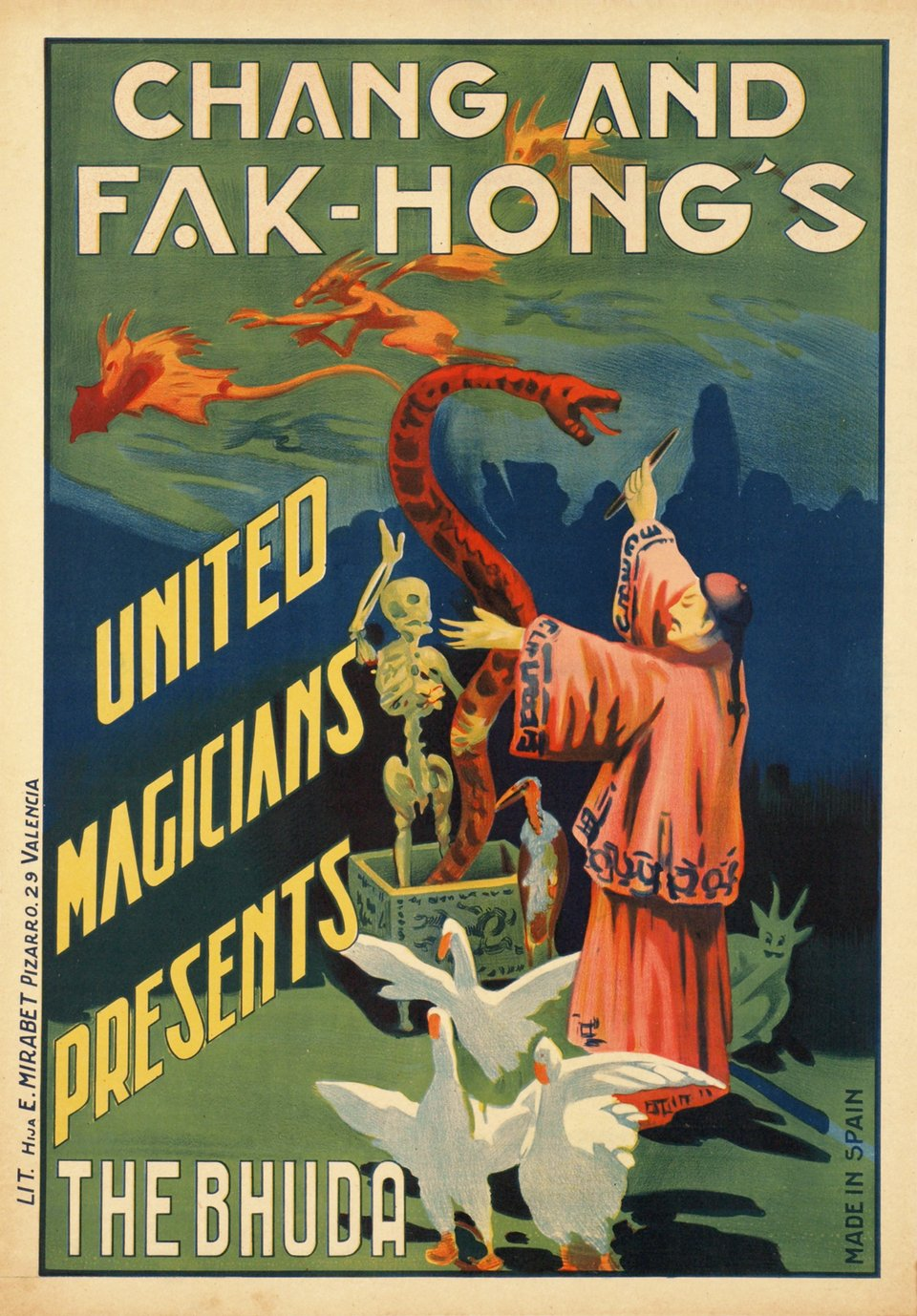 Chang and Fak-Hong's, United Magicians presents The Bhuda – Vintage poster – ANONYMOUS – 1920
