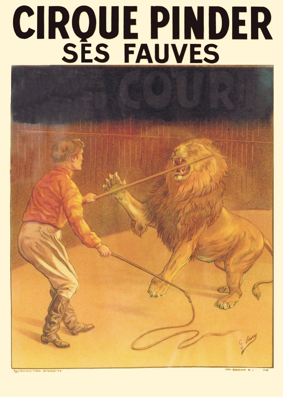 Cirque Pinder, ses fauves – Affiche ancienne –  ANONYME – 1900