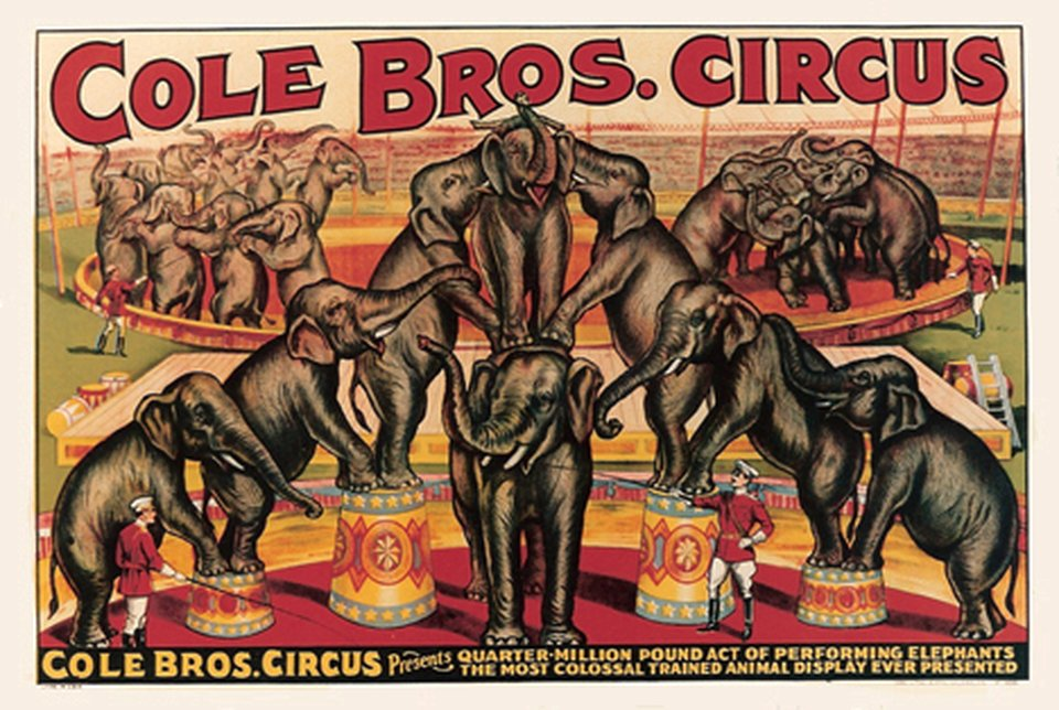 Cole Bros Circus – Vintage poster – ANONYMOUS – 1936