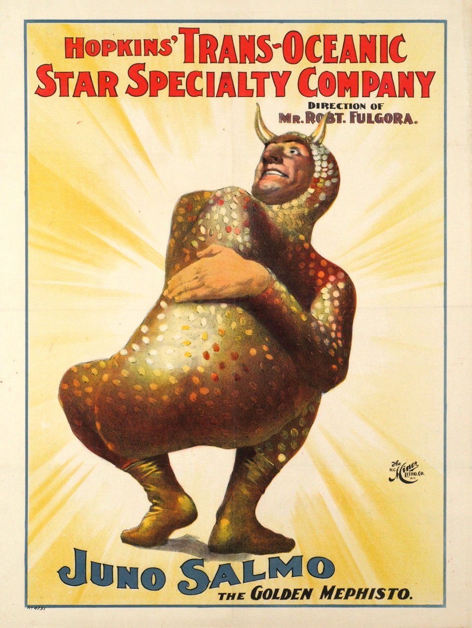 Hopkins' Trans-Oceanic Star Specilty Company, Juno Salmo, the Golden Mephisto – Vintage poster – ANONYME – 1900