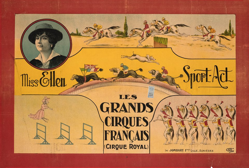 Les Grands Cirques Français, Cirque Royal, Miss Ellen, Sport-Act – Vintage poster – GS – 1910