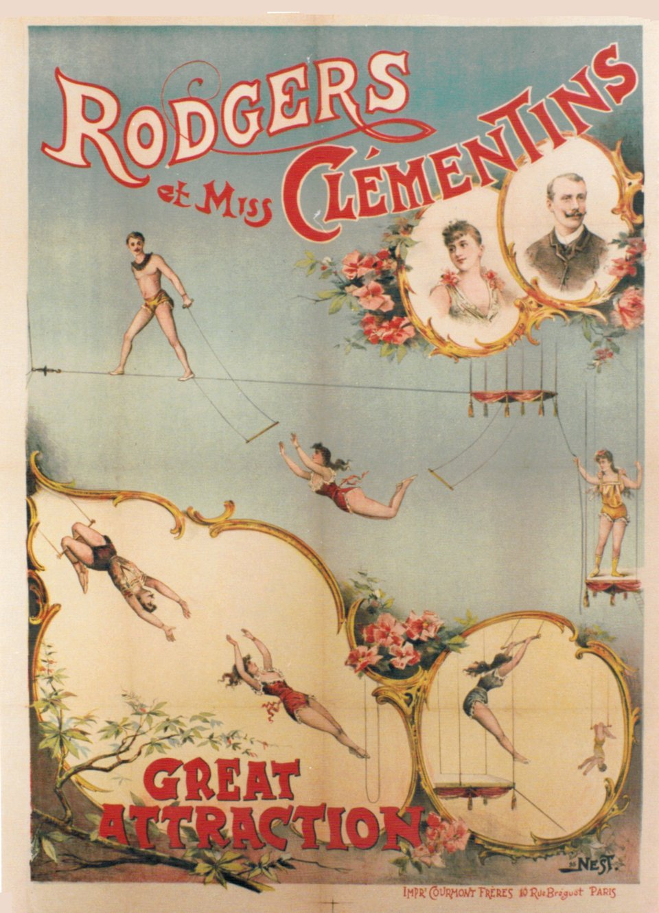 Rodgers et Miss Clémentins, Great Attraction – Vintage poster – NEST – 1895
