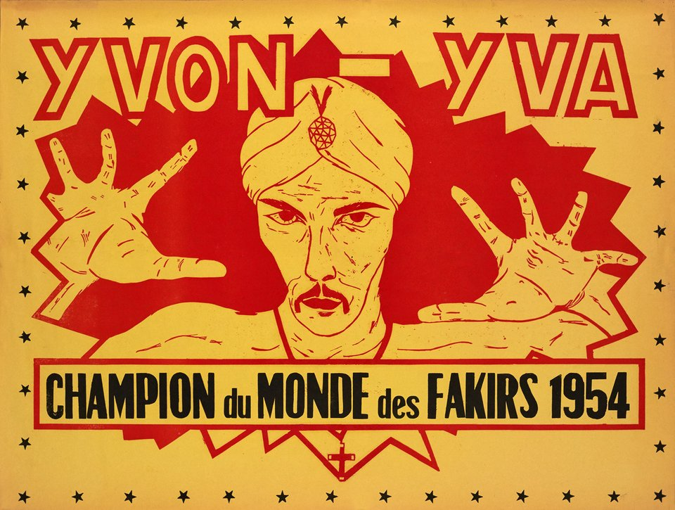 Yvon-Yva, Champions du Monde des Fakirs 1954 – Affiche ancienne – ANONYMOUS – 1954
