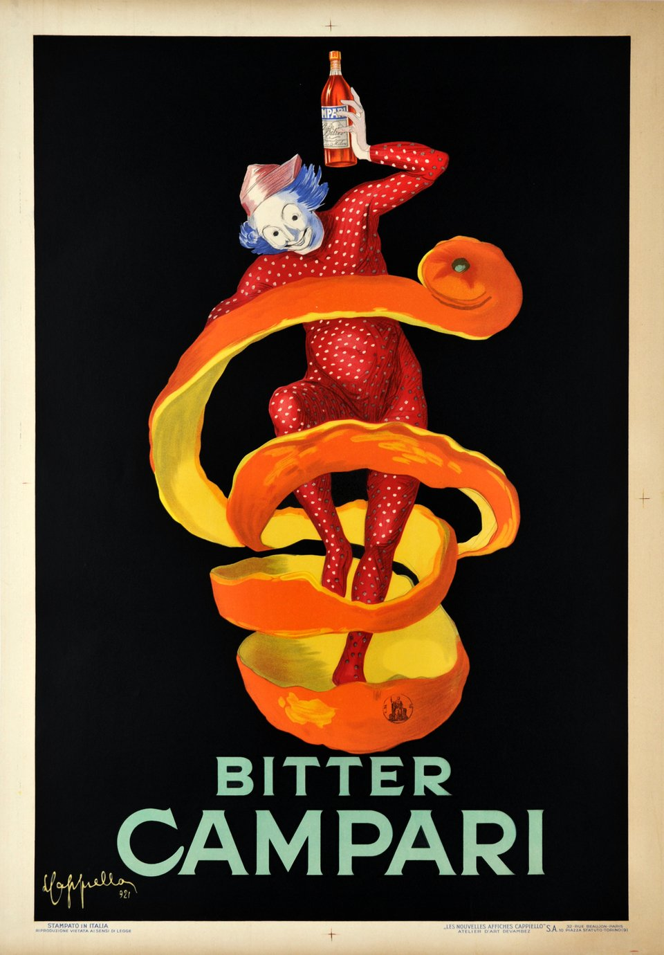 Campari. Bitter Campari 1921, Orange peel – Vintage poster – Leonetto CAPPIELLO – 1921