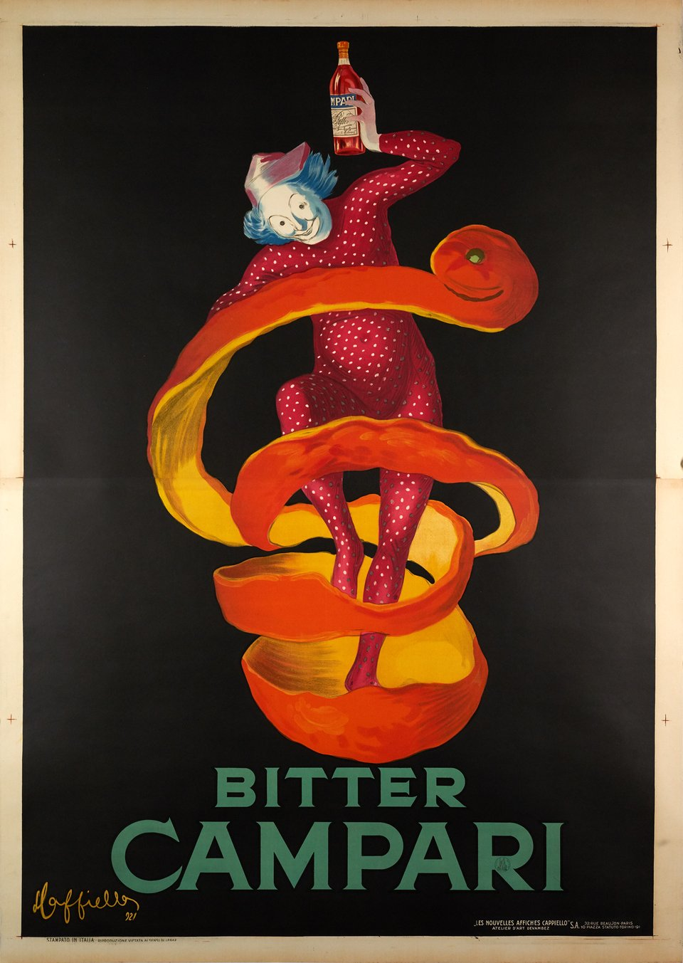 Campari, Bitter Campari, the large Orange Peel (Jester) – Vintage poster – Leonetto CAPPIELLO – 1921