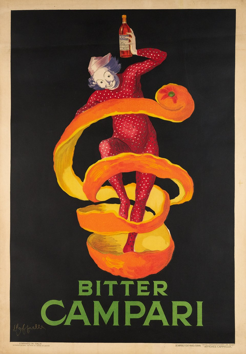 Campari. Bitter Campari, the medium Orange Peel (Jester) – Vintage poster – Leonetto CAPPIELLO – 1921