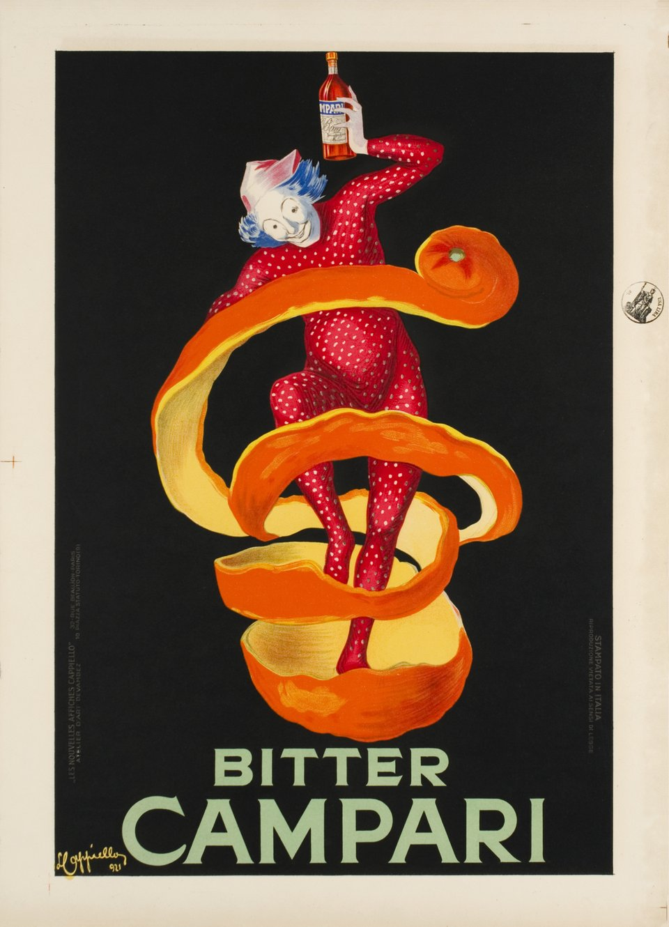 Campari. Bitter Campari, the small orange peel (Jester) – Vintage poster – Leonetto CAPPIELLO – 1921