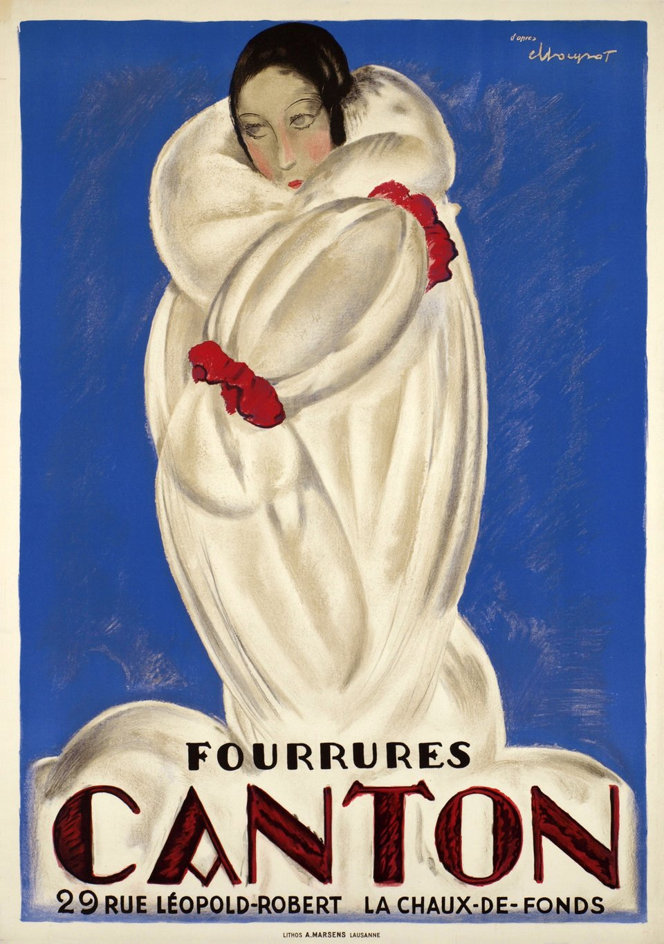 Canton Fourrures, second authorized edition circa 1930 – Vintage poster – Charles LOUPOT – 1930
