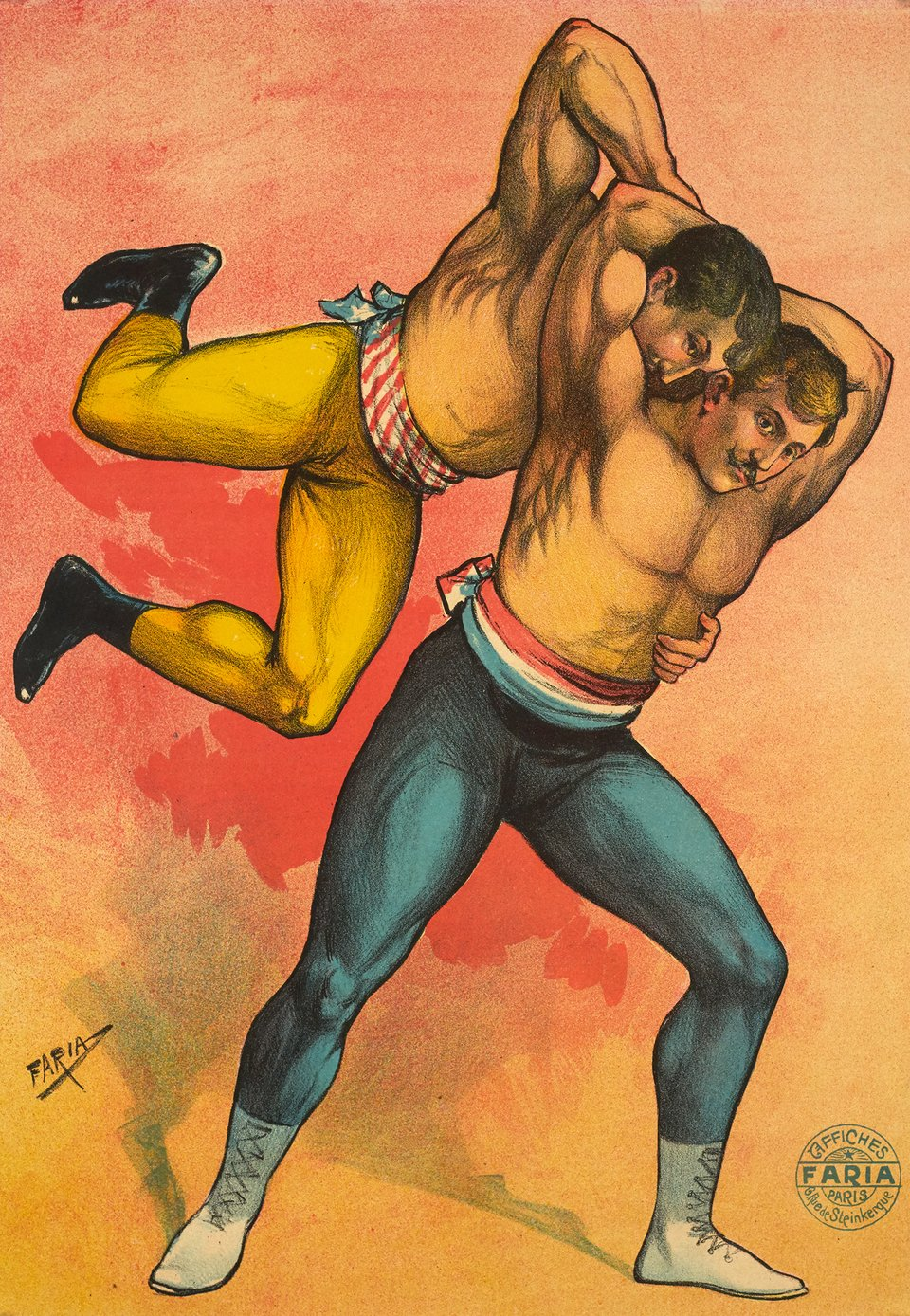 2 wrestlers, before letter – Vintage poster – De Faria Candido Aragonese FARIA – 1900