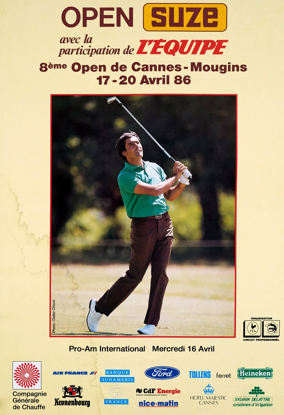 8e Open de Cannes Mougins, Open Suze – Affiche ancienne – Didier CHICOT – 1986