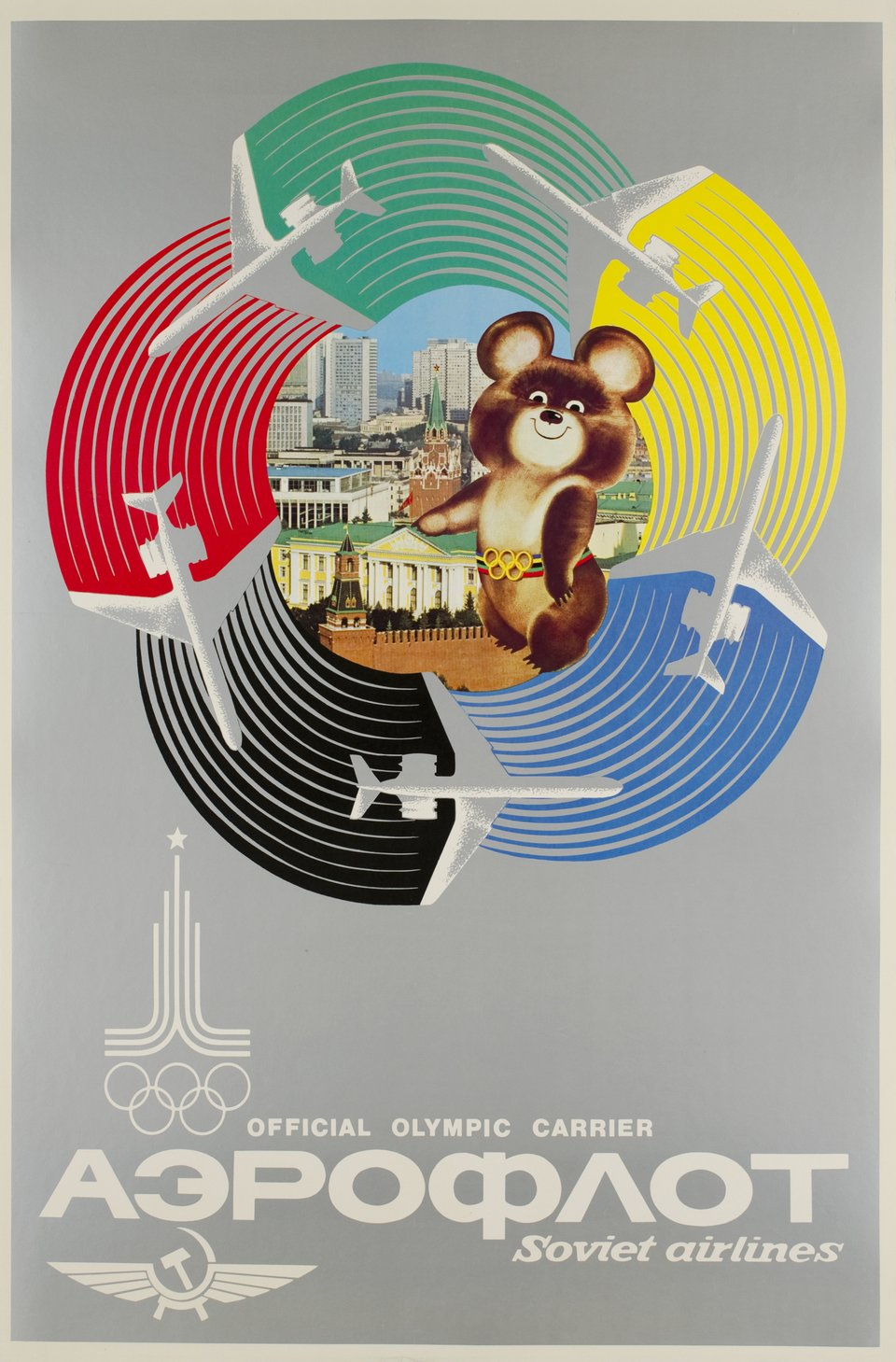 Aeroflot official Olympic Carrier, Soviet Airlines – Affiche ancienne – ANONYME – 1980