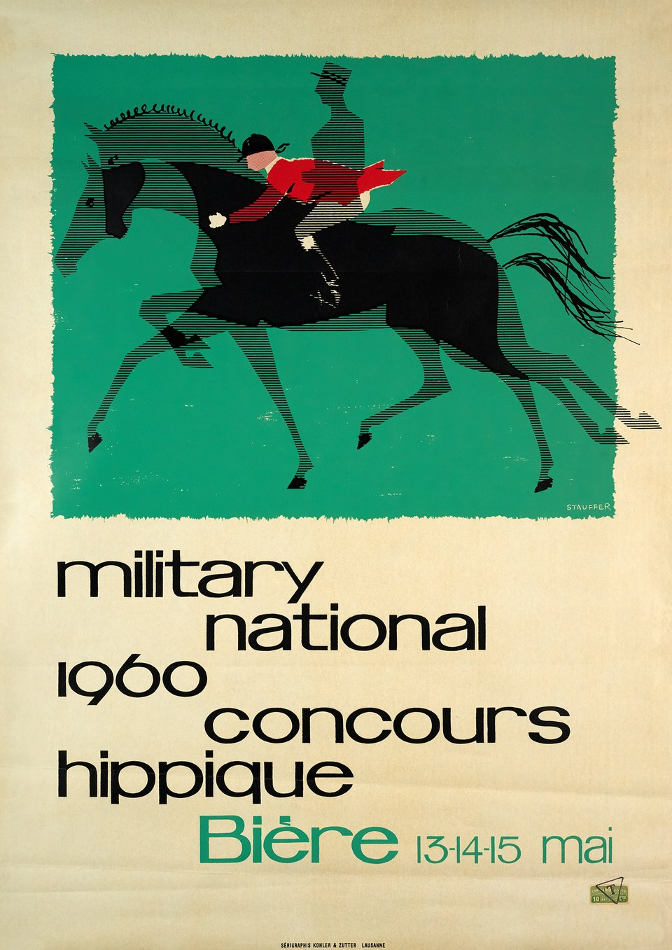 Concours hippique, military national – Affiche ancienne – STAUFFER – 1960