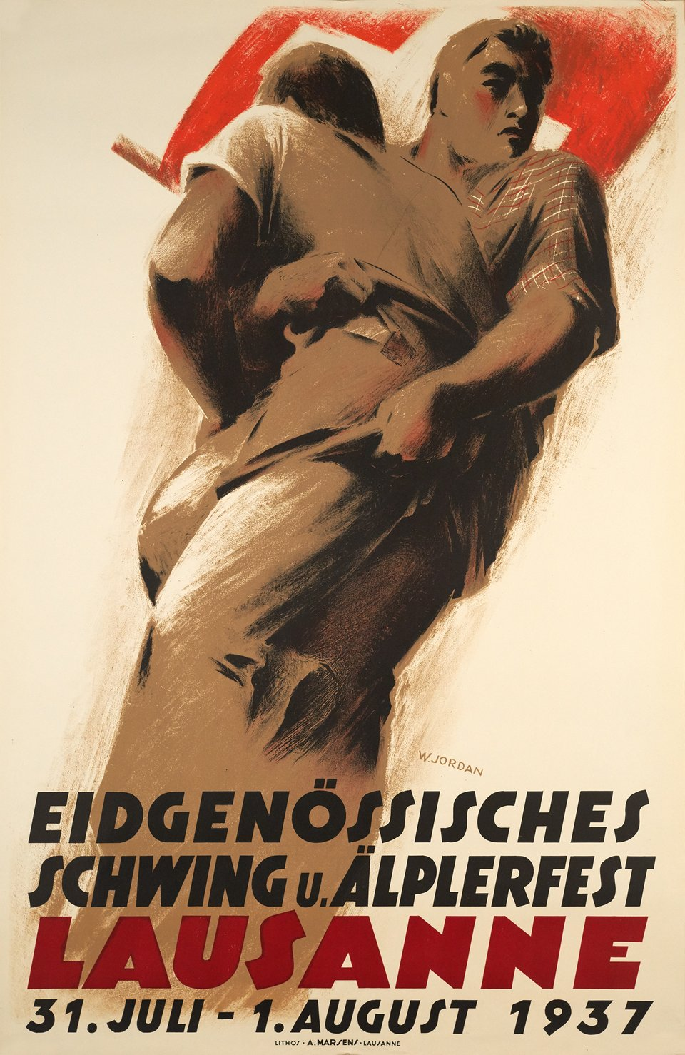 Eidgenössisches Schwing u. Älperfesz Lausanne – Affiche ancienne – Willy JORDAN – 1937