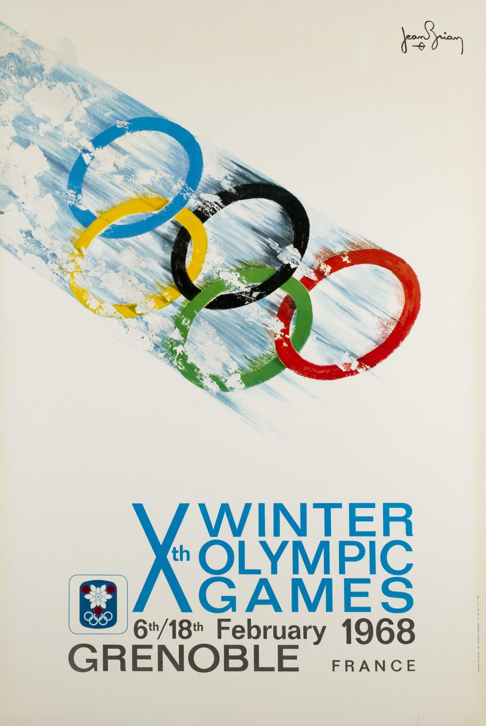 Grenoble, Xth Olympic Winter Games, 1968 – Affiche ancienne – Jean BRIAN – 1968