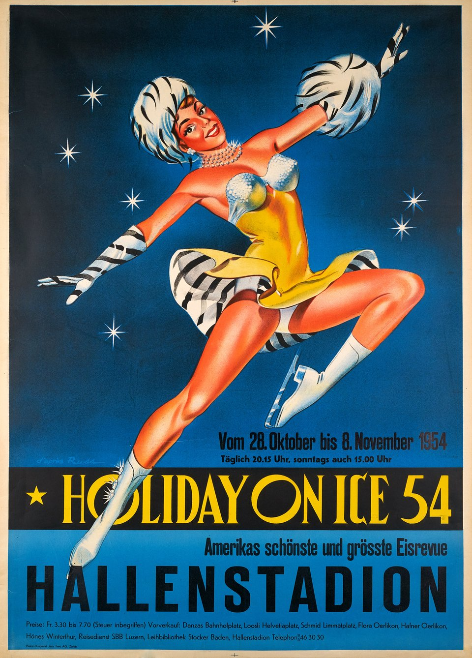 Holiday on ice 54, Zürich – Affiche ancienne –  RUSS – 1954