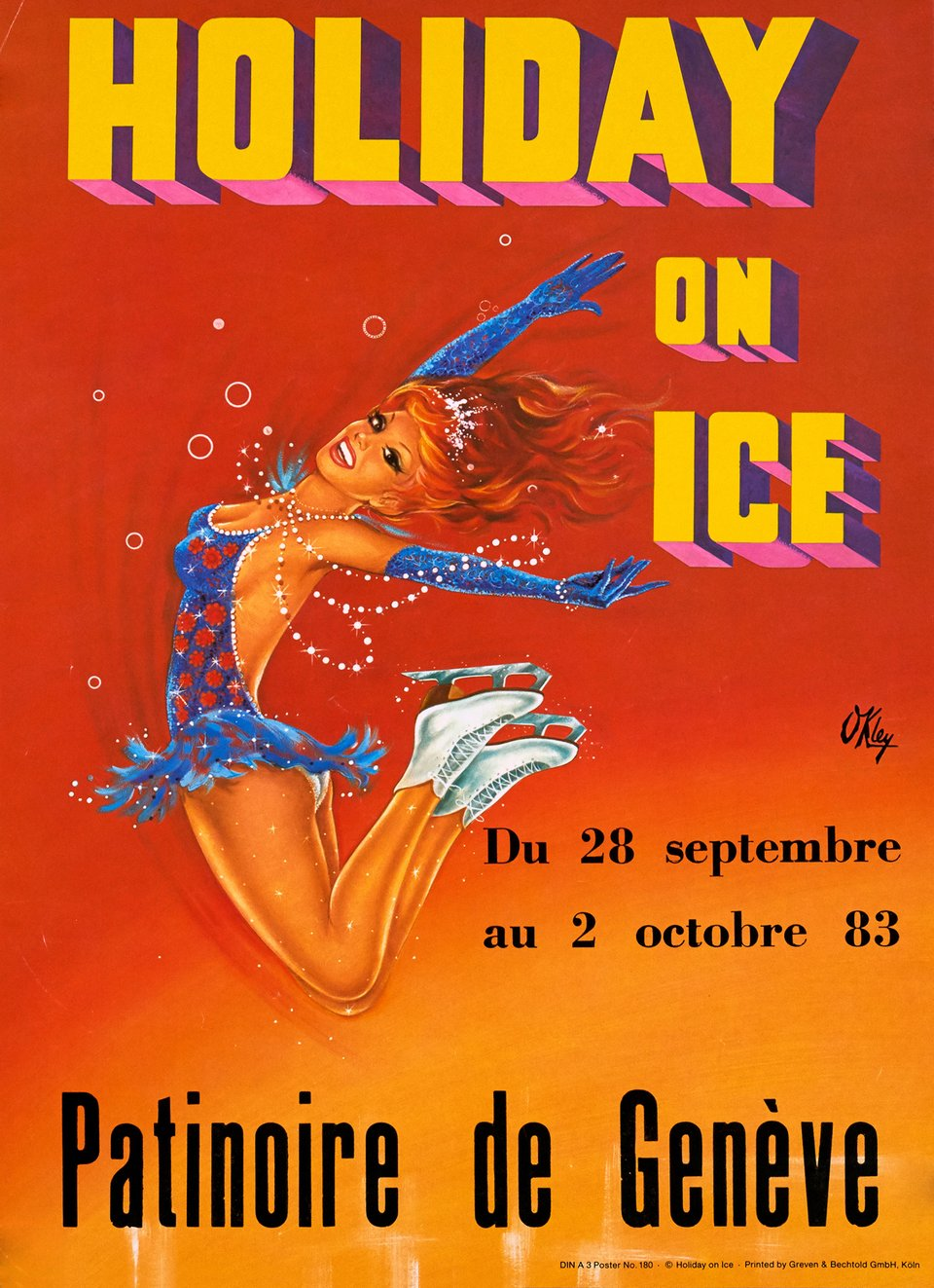 Holiday on Ice, Patinoire de Genève – Affiche ancienne – O'KLEY – 1983