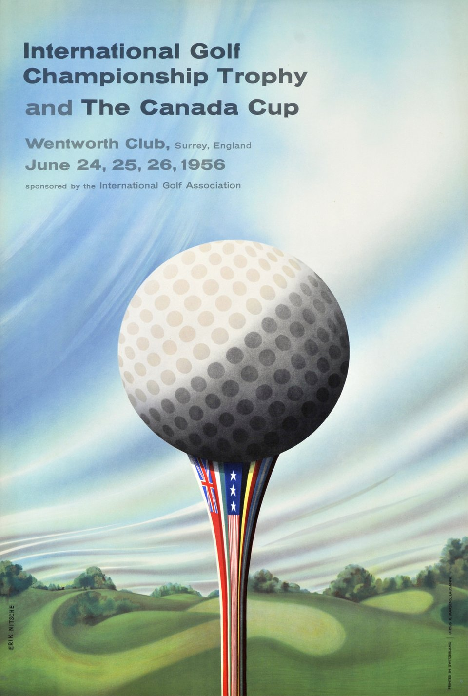 International Golf Championship Trophy and the Canada Cup, Wentworth 1956 – Vintage poster – Erik NITSCHE – 1956