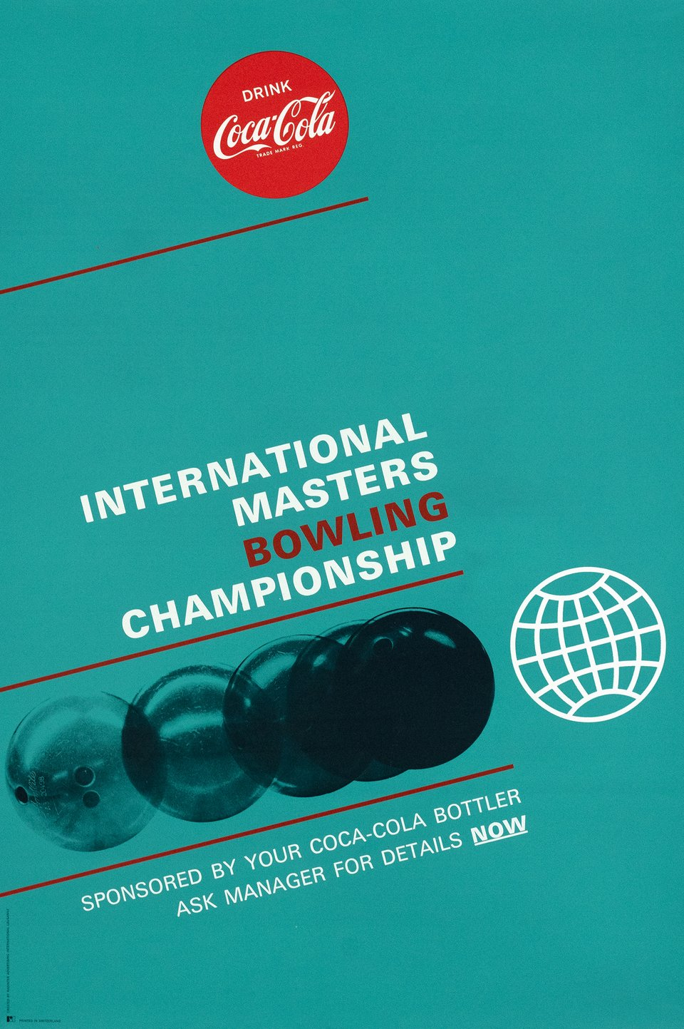 International Masters Bowling Championship, Sponsored by your Coca-Cola Bottler – Vintage poster – RADINTER ADVERTISING INTERNATIONAL, LAUSANNE – 1970