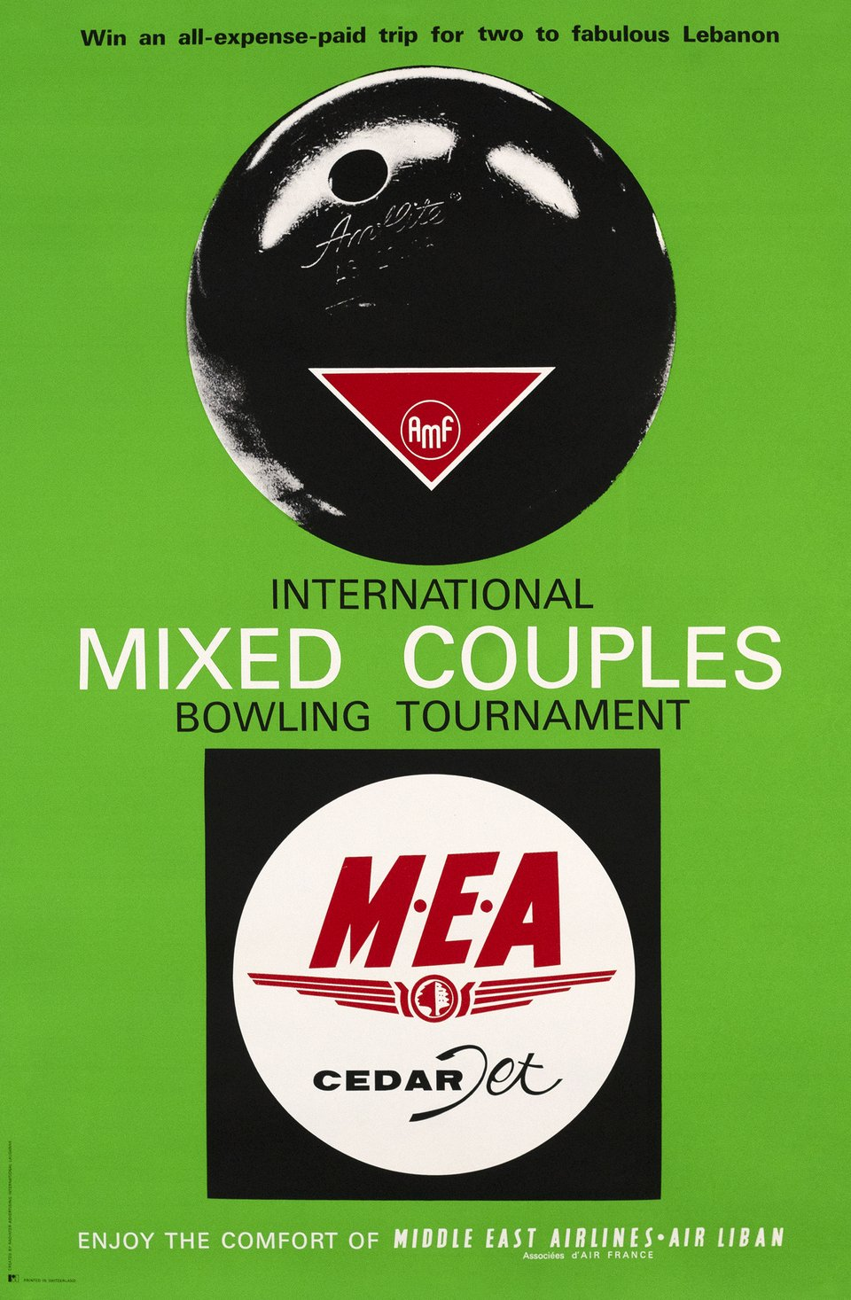 Bowling tournament, with MEA Middle Est Airline – Affiche ancienne – RADINTER ADVERTISING INTERNATIONAL, LAUSANNE – 1970