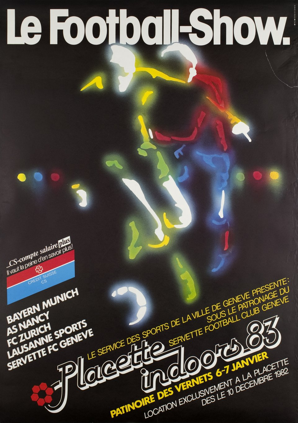 Le Football-Show, Placette Indoors 83 – Affiche ancienne – Heinz HEIMANN – 1983