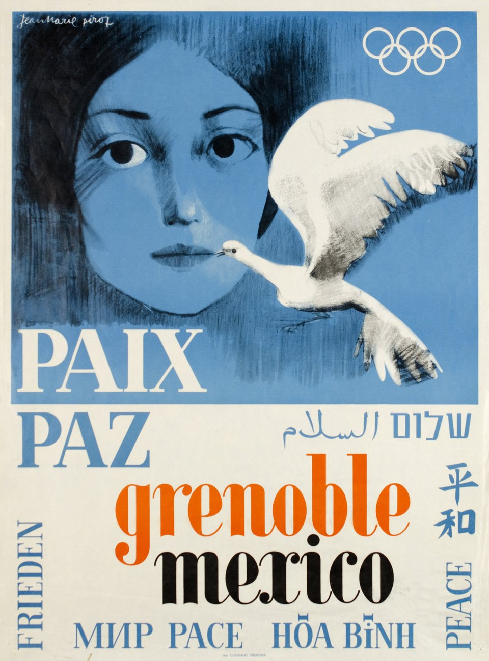 PAIX PAZ Grenoble Mexico 68 – Affiche ancienne – Jean-Marie PIROT – 1968