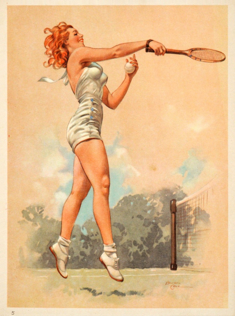 Pin up, tennis. – Vintage poster – Edward COLE – 1950