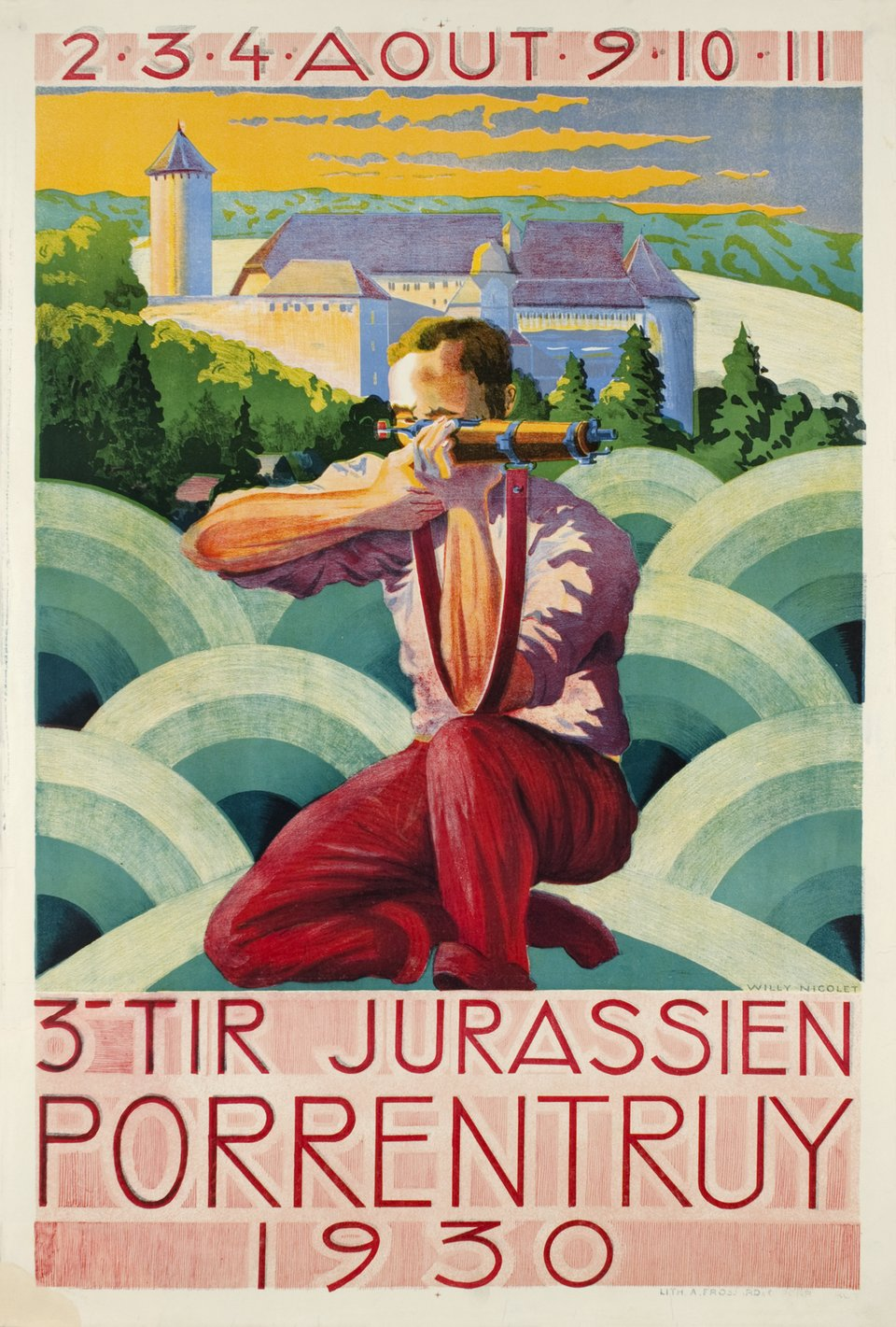 Porrentruy, 3e tir jurassien 1930 – Affiche ancienne – Willy NICOLET – 1930