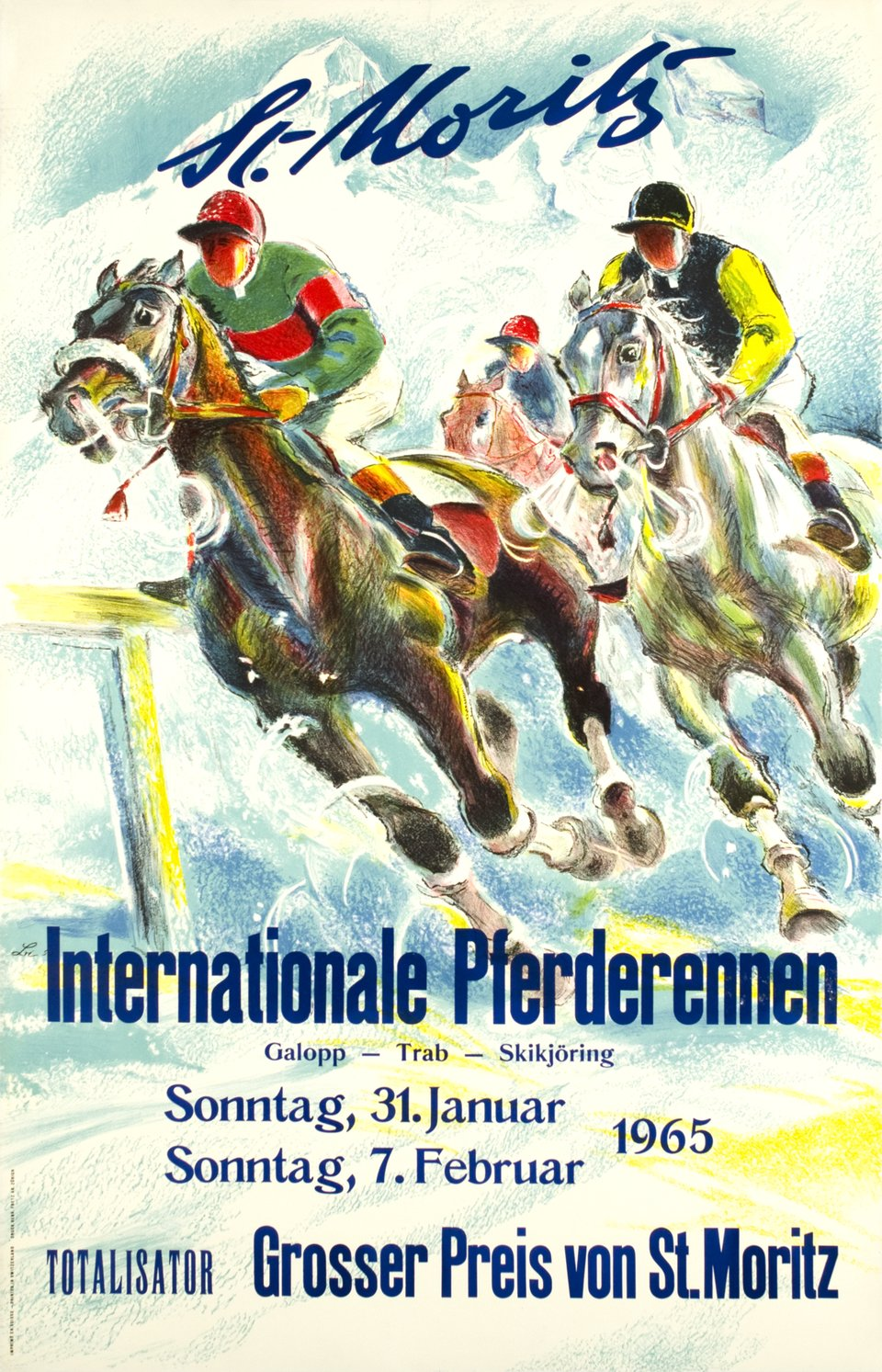 St-Moritz, Internationale Pferderennen – Affiche ancienne – Hugo LAUBI – 1965