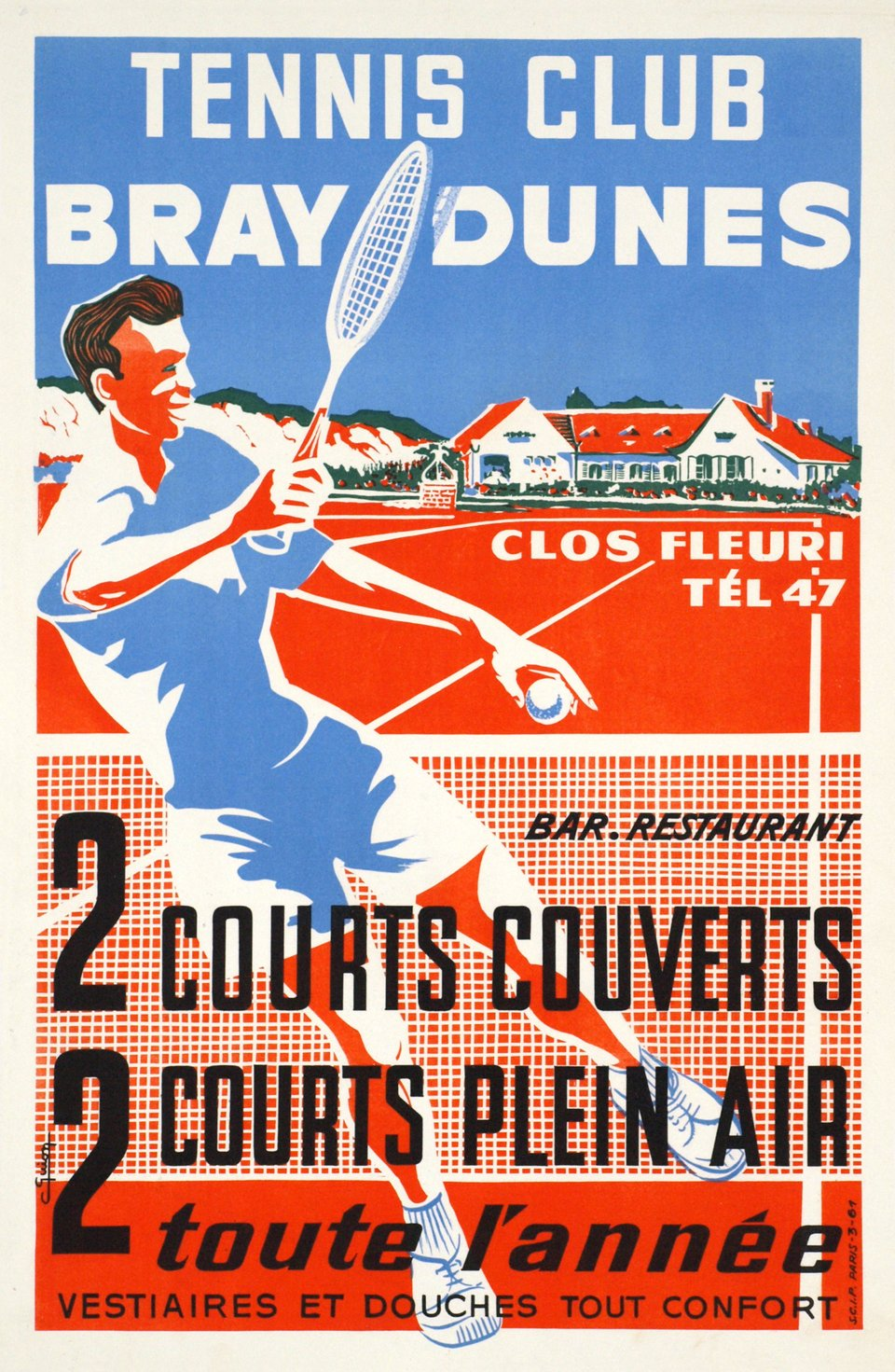 Tennis Club Bray Dunes – Vintage poster – C. GUION – 1950