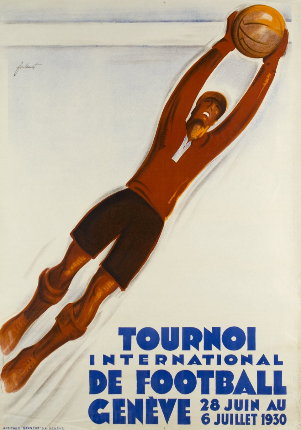 Tournoi international de football, Genève – Vintage poster – Noel FONTANET – 1930