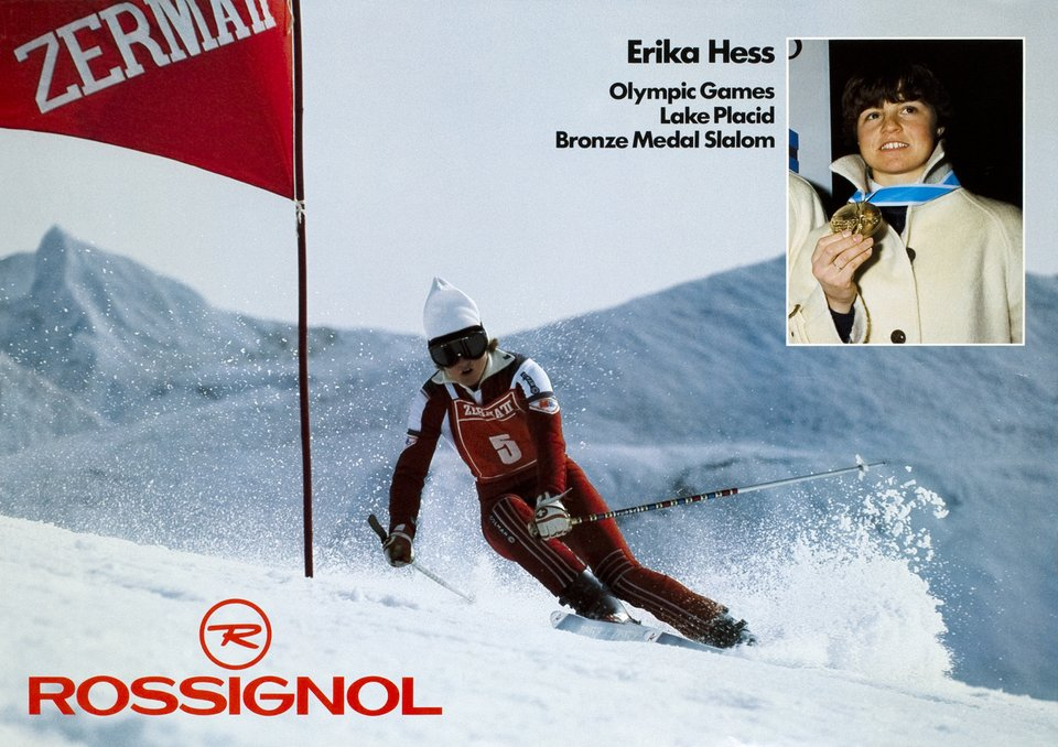 Olympic Winter Games Lake Placid 1980, Erika Hess, Bronze Medal Slalom – Affiche ancienne –  ANONYME – 1980