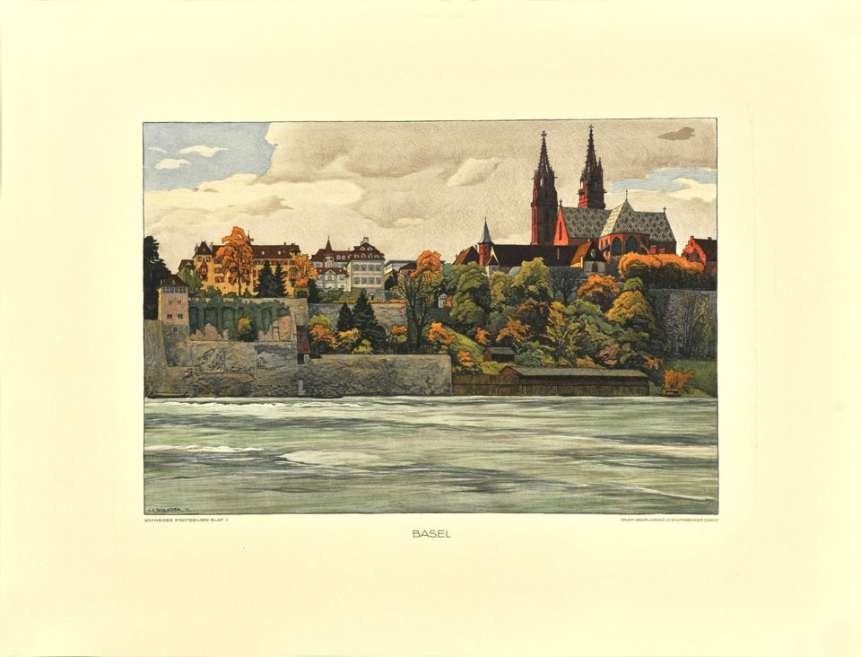 Basel, view of the Minster from the river – Affiche ancienne – Ernst Emil SCHLATTER – 1912
