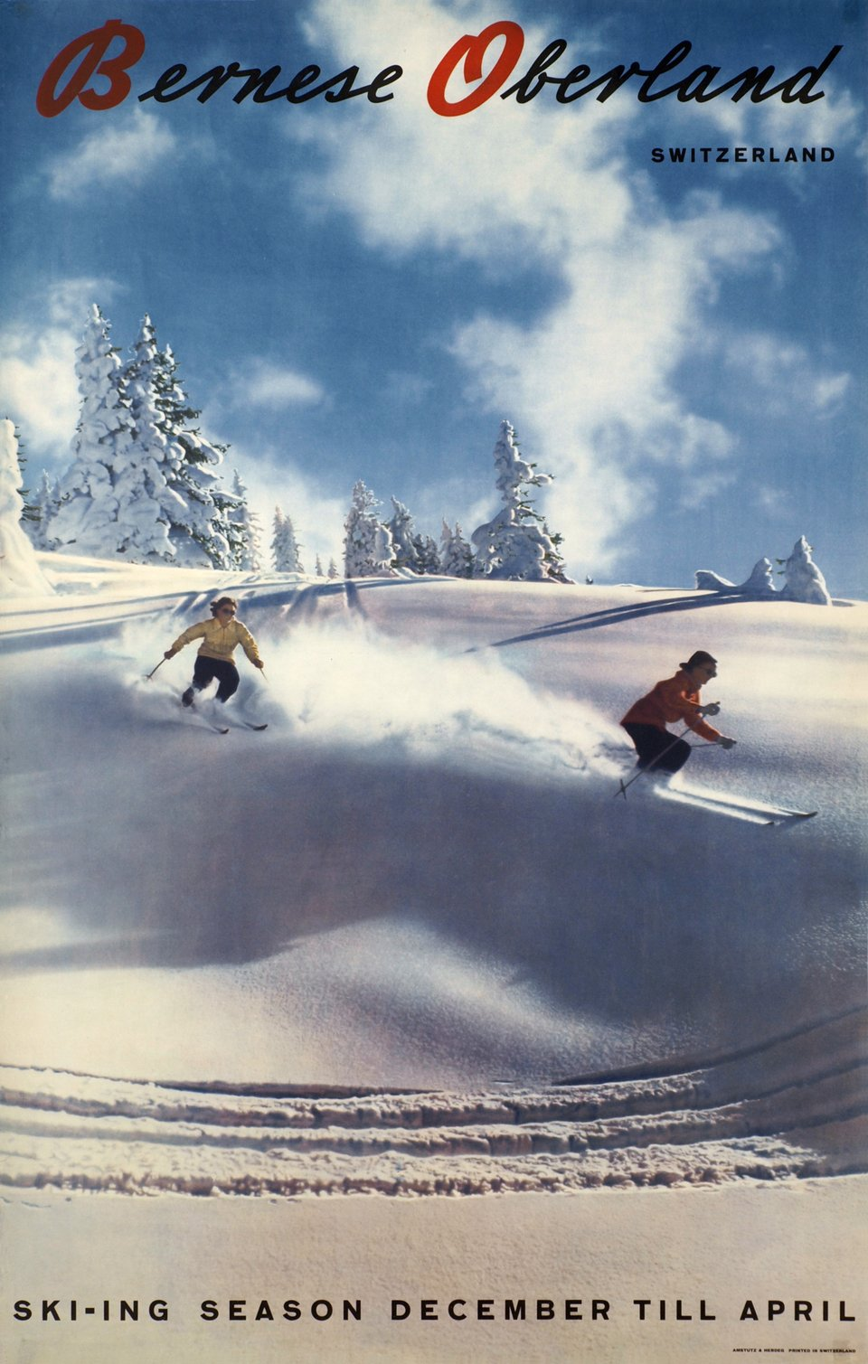 Bernese Oberland Switzerland, Skiing season December till April – Affiche ancienne – Walter HERDEG – 1944