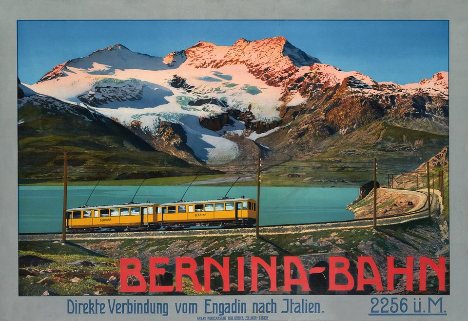 Bernina Bahn von Engadin nach Italien – Affiche ancienne – ANONYMOUS – 1920