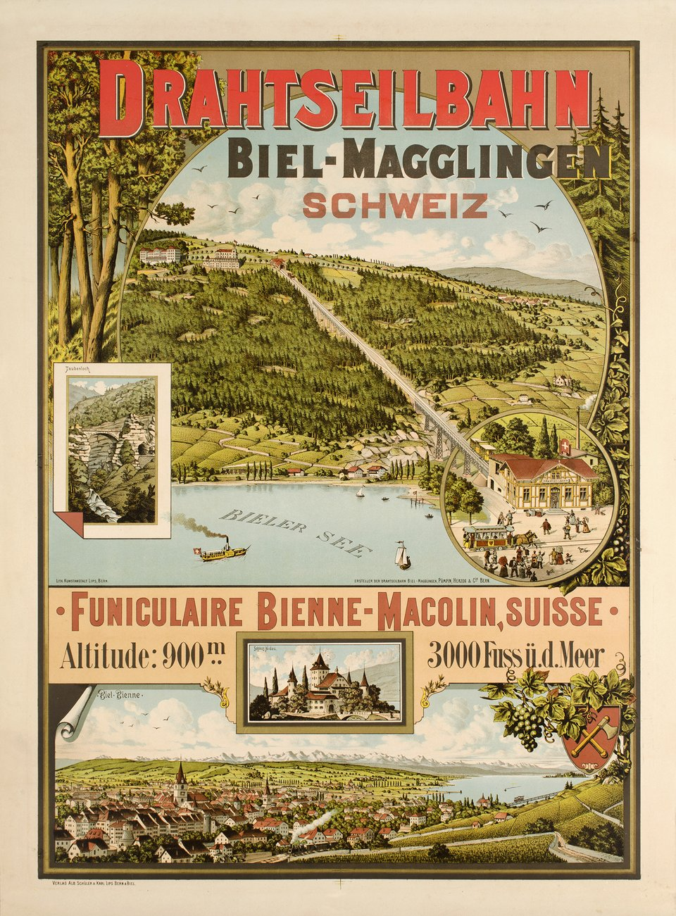 Biel-Magglingen Drahtseilbahn – Affiche ancienne – ANONYMOUS – 1887