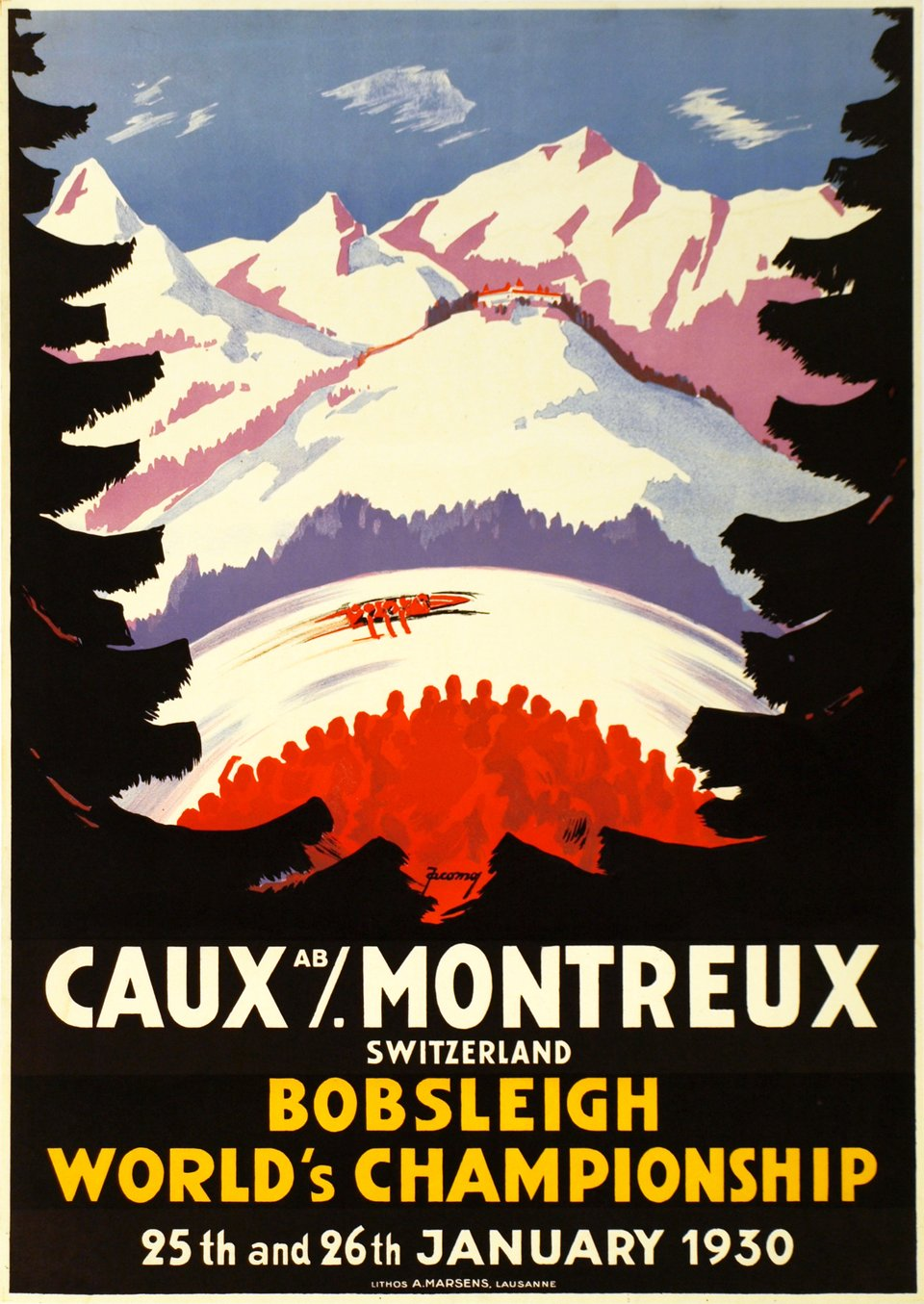 Caux / Montreux Switzerland, Bobsleigh World's Championship, 25th and 26th January 1930 – Affiche ancienne – Jacomo MULLER – 1930