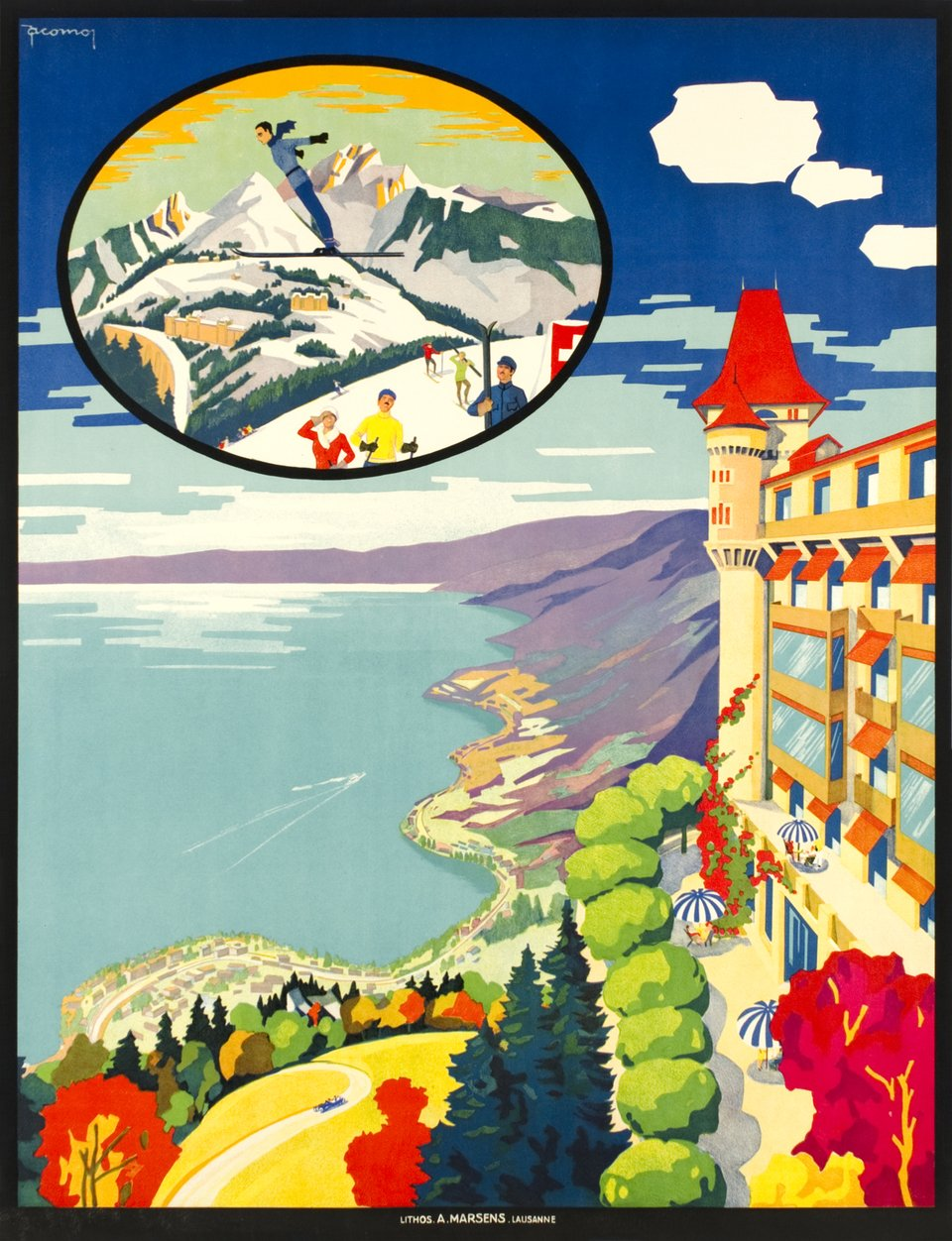 Caux s/ Montreux-Territet,  without the text – Vintage poster – Jacomo MULLER – 1925