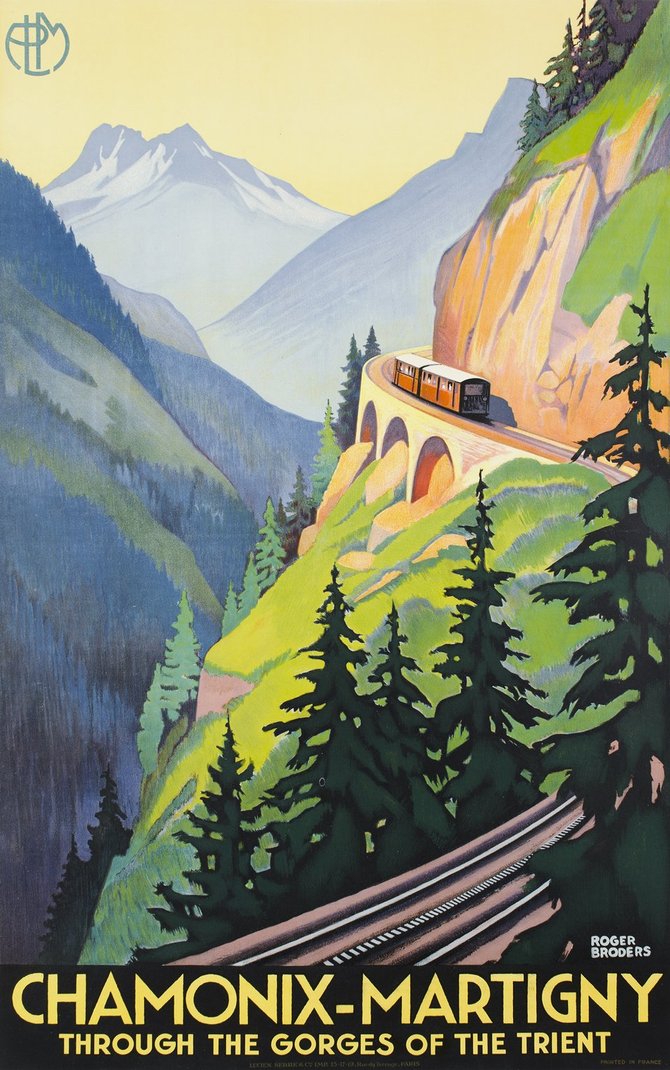 Chamonix-Martigny, Through the gorges of the Trient – Vintage poster – Roger BRODERS – 1930