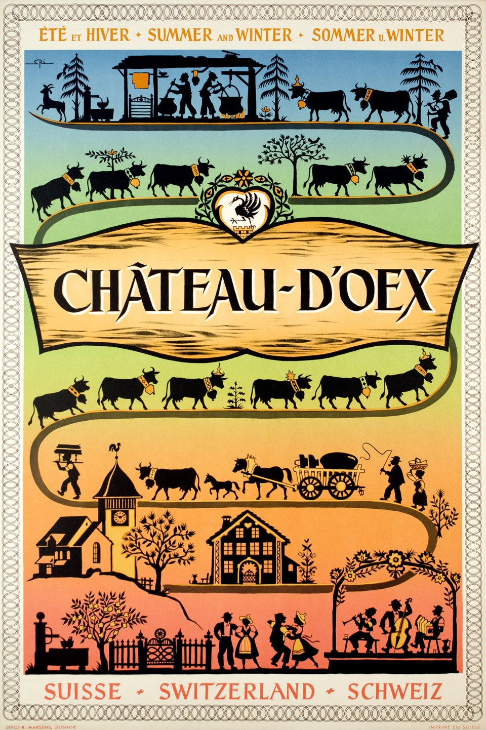 Château d'Oex – Affiche ancienne – Walther SPINNER – 1955